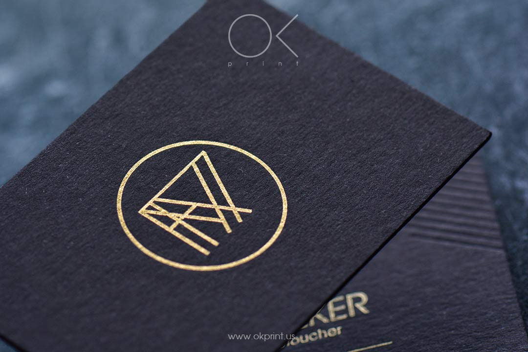 Luxury business cards with debossing anf gold foil