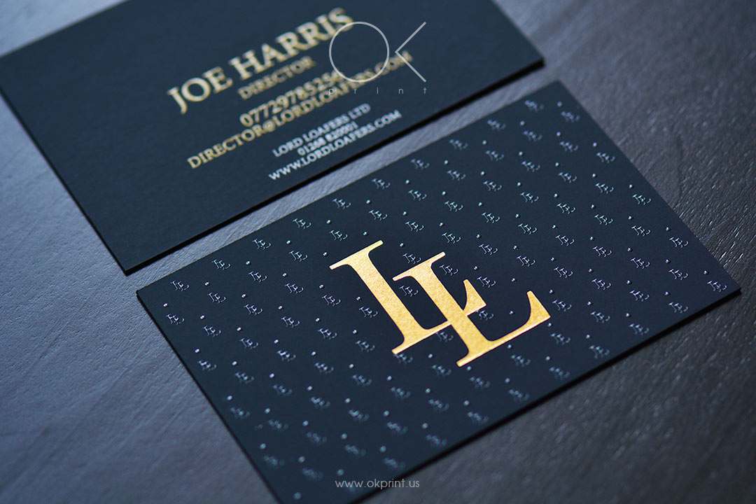 Luxury Business Cards With Gold Foil and Thermography for Shoe Brand
