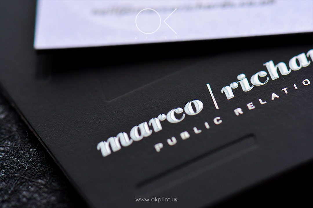 Luxury debossed business cards with thermography