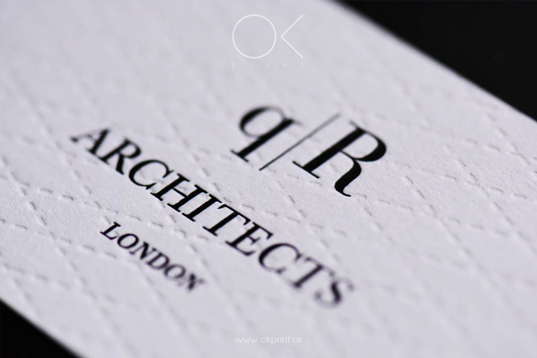 LUXURY DEBOSSED BUSINESS CARDS FOR ARCHITECTS COMPANY
